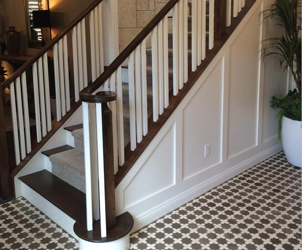 Stair railing remodels custom woodworking fireplace - Interior stair railing contractors ...